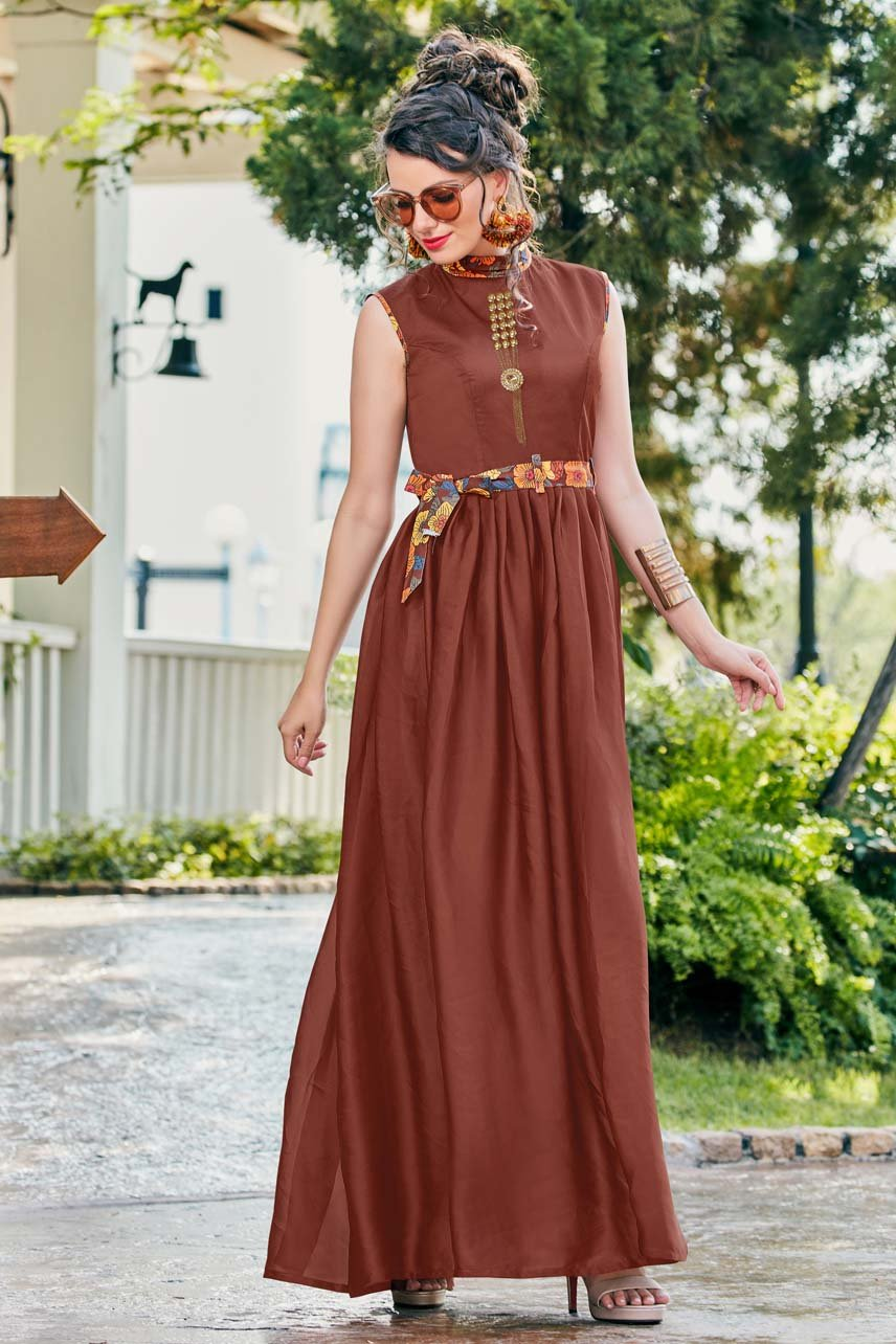 Crepe Silk Printed Gown In Brown Colour