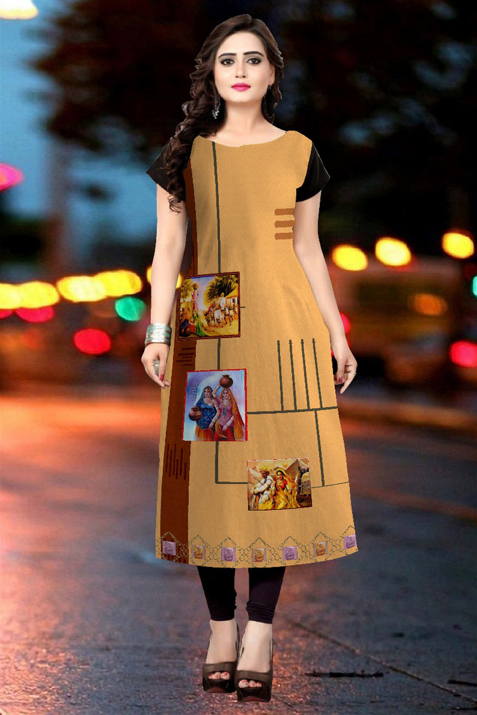 American Crape Printed Kurti In Beige Colour