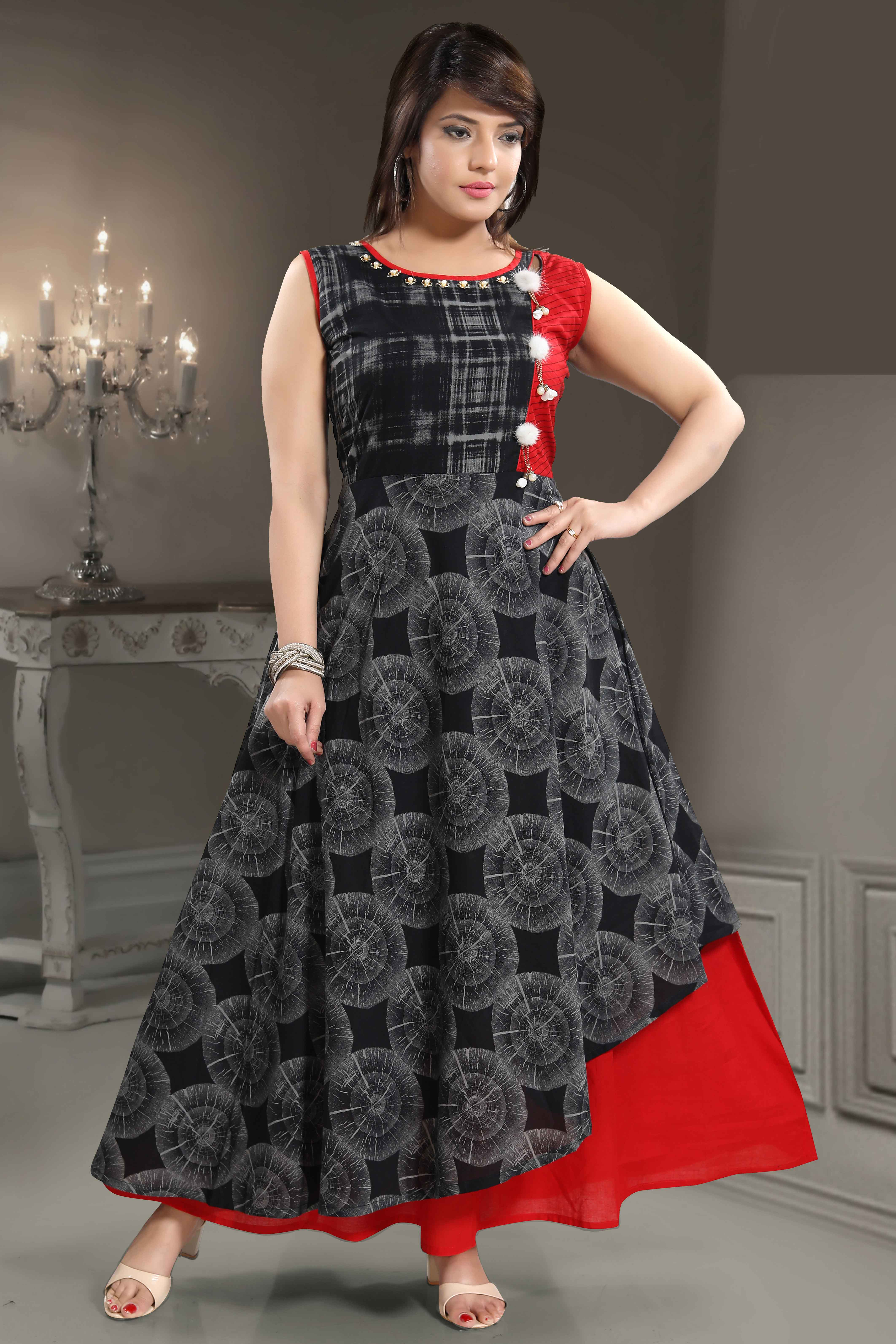 Rayon Katha Work Kurti In Black Colour