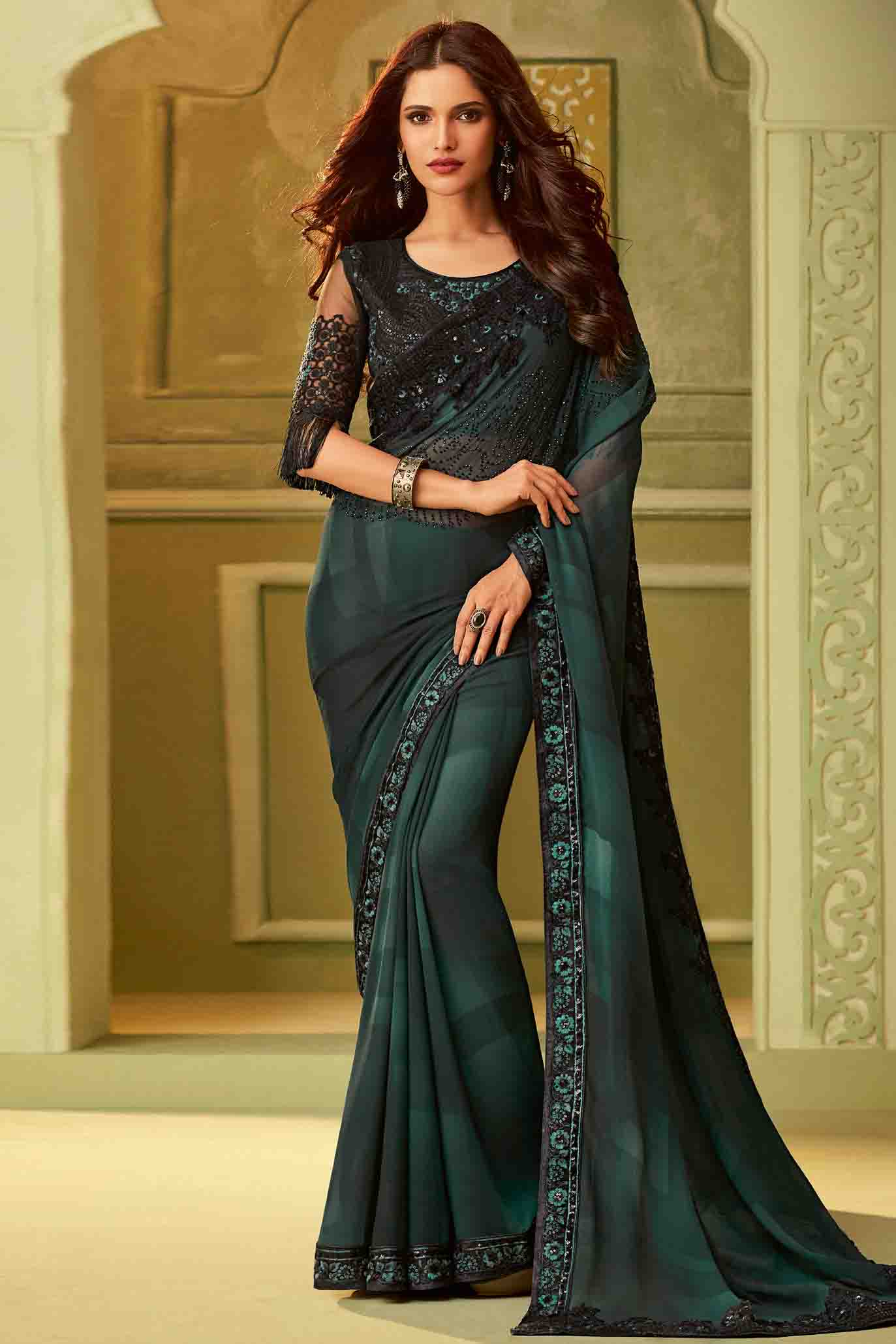 Georgette Designer Saree In Grey and Black Colour