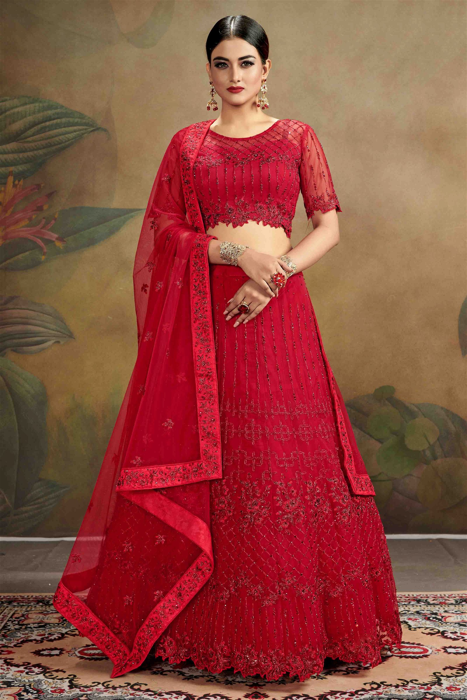 Net Party Wear Lehenga Choli In Red Colour