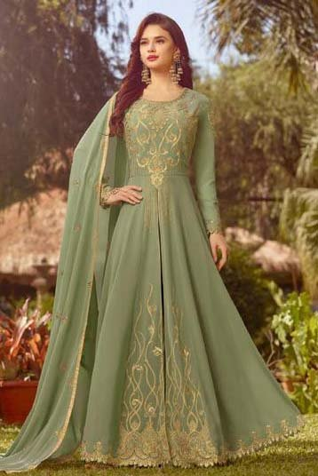 Georgette Embroidered Anarkali Suit In Pastel Green Colour
