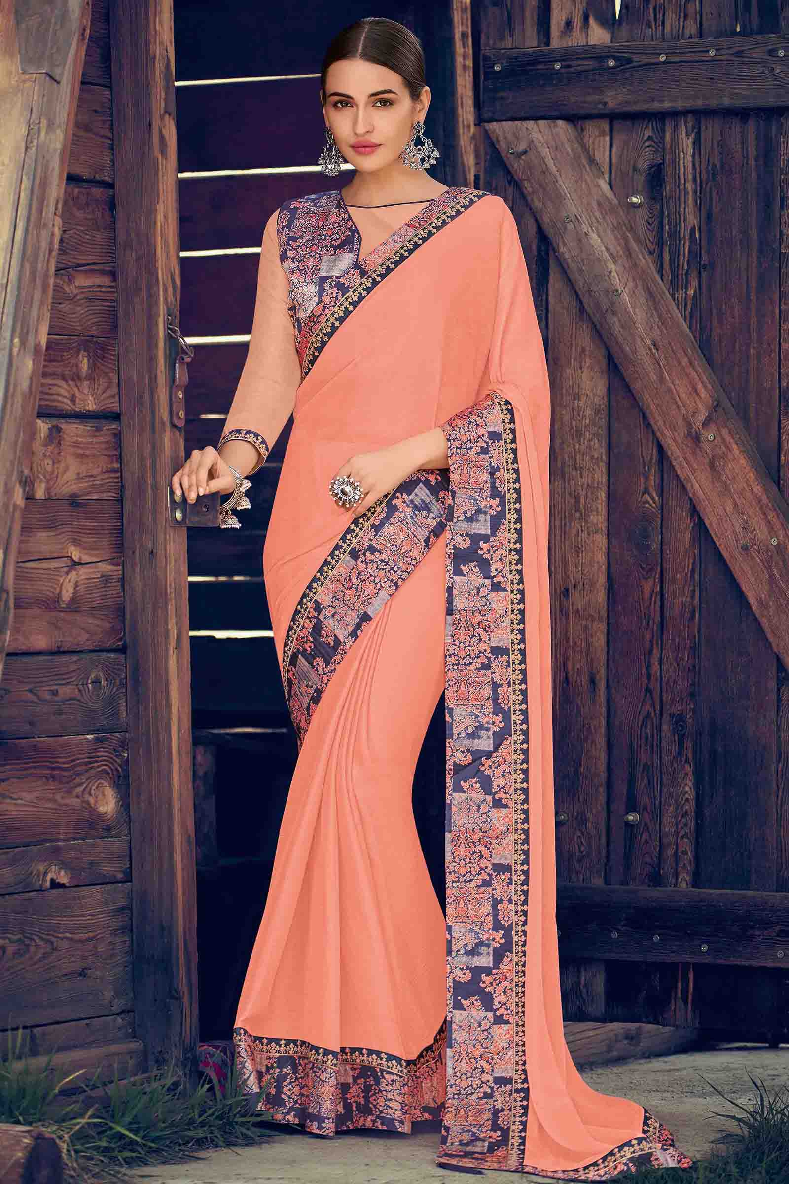 Chiffon Designer Saree In Peach Colour