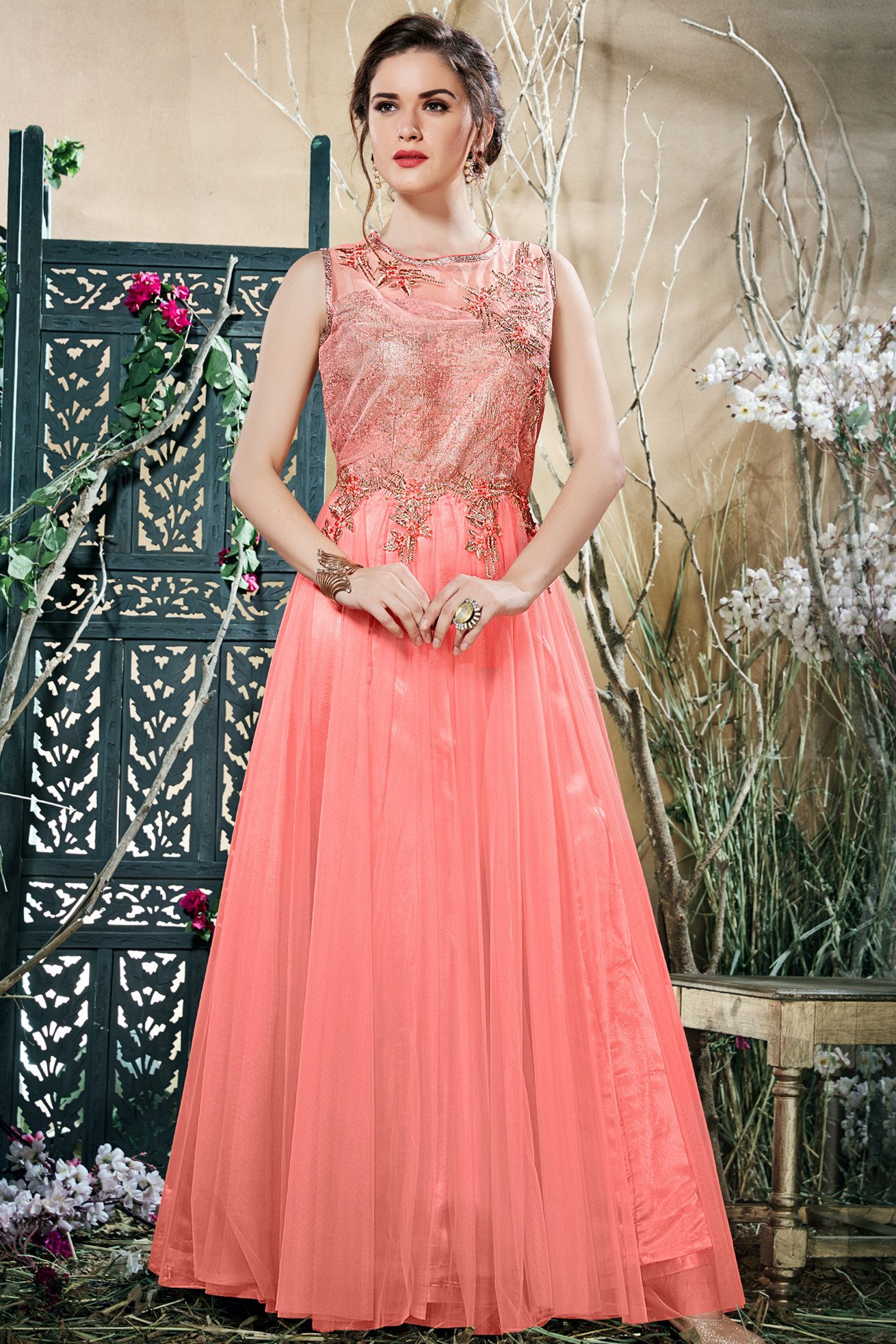 Net Gown In Peach Colour