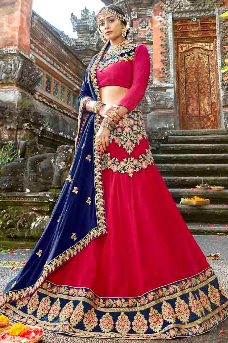 Georgette Embroidery Lehenga Choli In Pink Colour