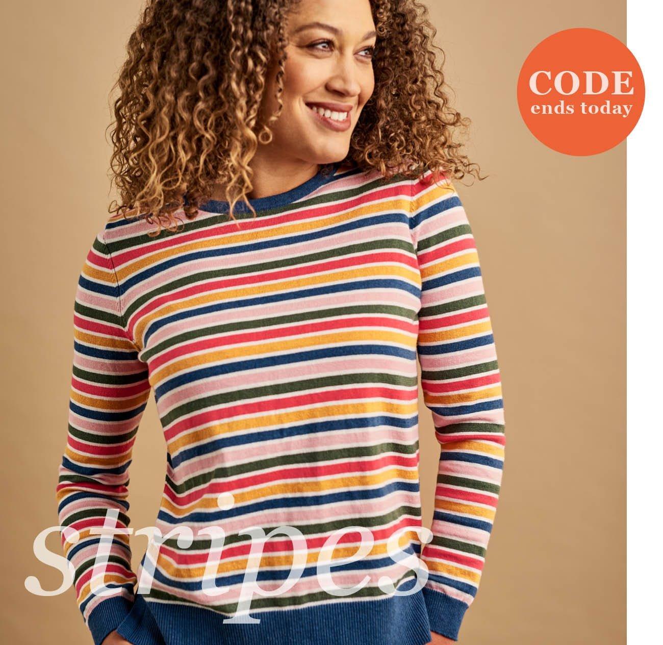 Womens Cotton & Cashmere Blend Multi Stripe Jumper in Multi