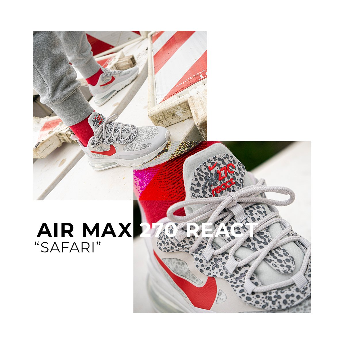 air max 270 react safari grey red