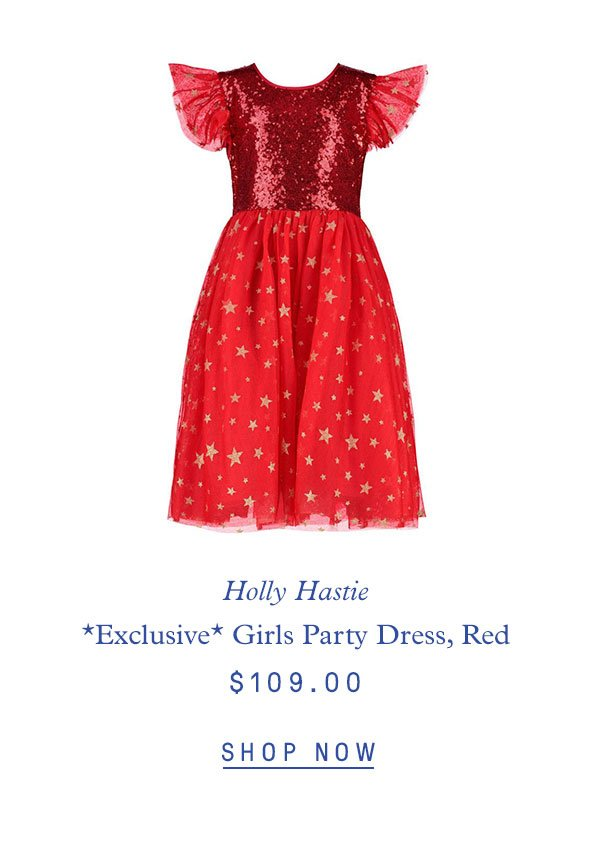 Holly Hastie *Exclusive* Girls Shimmer Sequin & Star Tulle Party Dress, Red $109.00