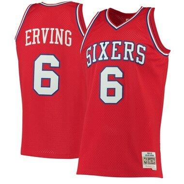 Men's Mitchell & Ness Julius Erving Red Philadelphia 76ers 1982-83 Hardwood Classics Swingman Jersey
