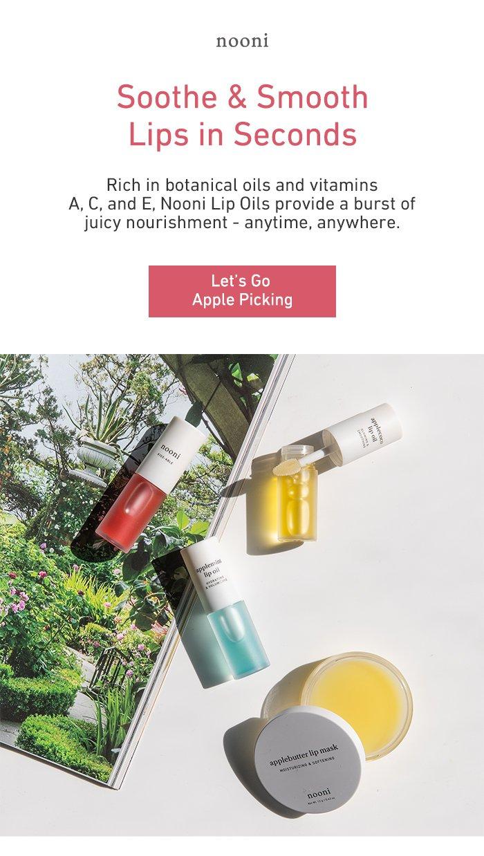 Nooni's nourishing, apple water-infused lip oils.
