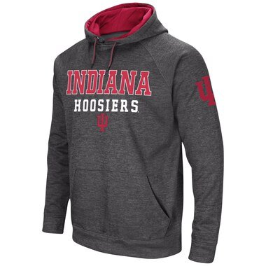 Men's Colosseum Charcoal Indiana Hoosiers Performance Pullover Hoodie