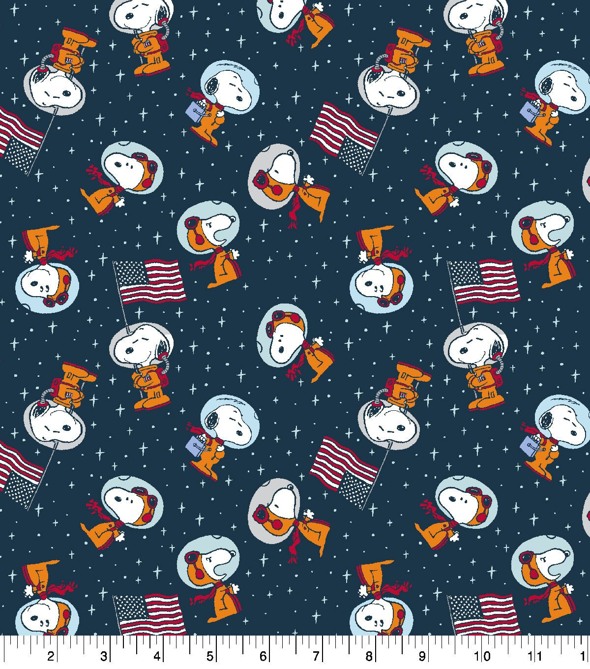 Peanuts Cotton Fabric-Snoopy Space.