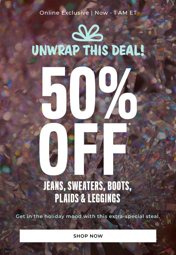 50 off sweaters jeans plaids boots and leggings