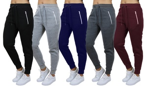 4-Pack Women's Loose-Fit Fleece Joggers (S-2XL). Plus Sizes Available.