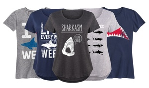 Women's Classic Fit Shark Tee.Plus Sizes Available.