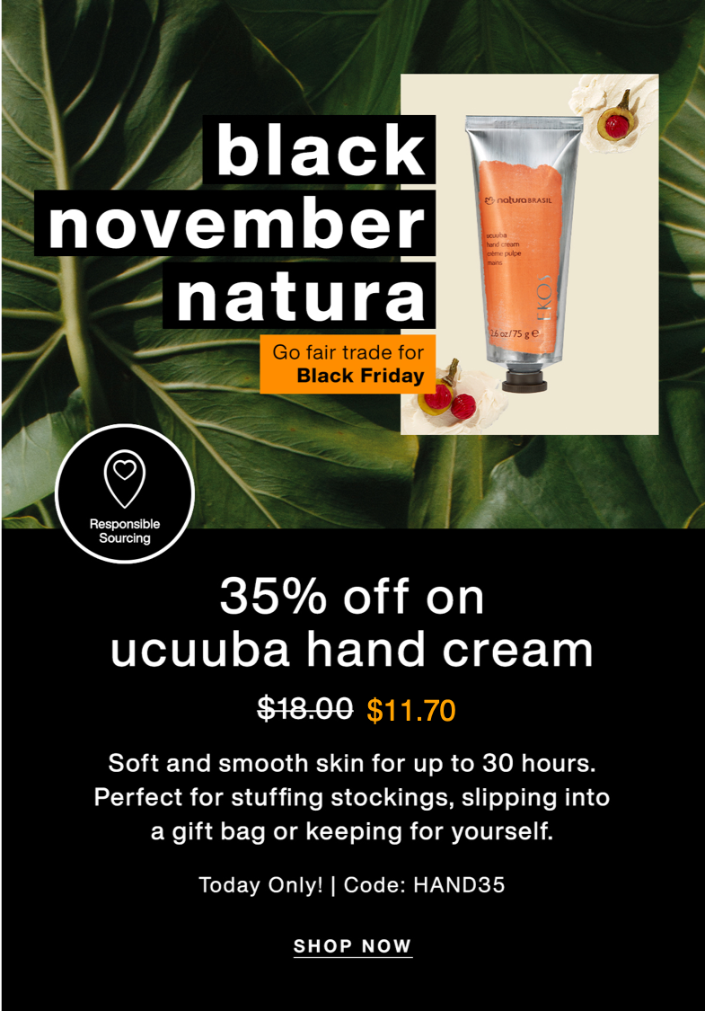 Perfect for stocking stuffers: ucuuba hand cream will ultra-hydrate the hands of those you care about.