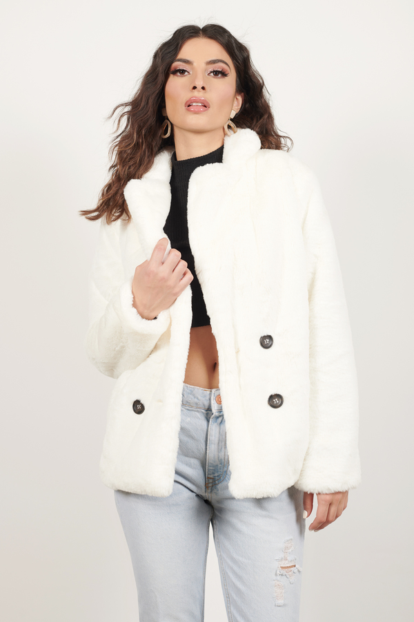 Snow Down White Faux Fur Coat