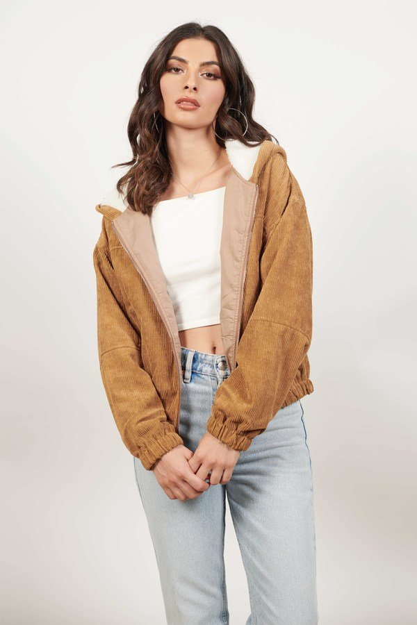 Down With It Camel Corduroy Zip Up Jacket