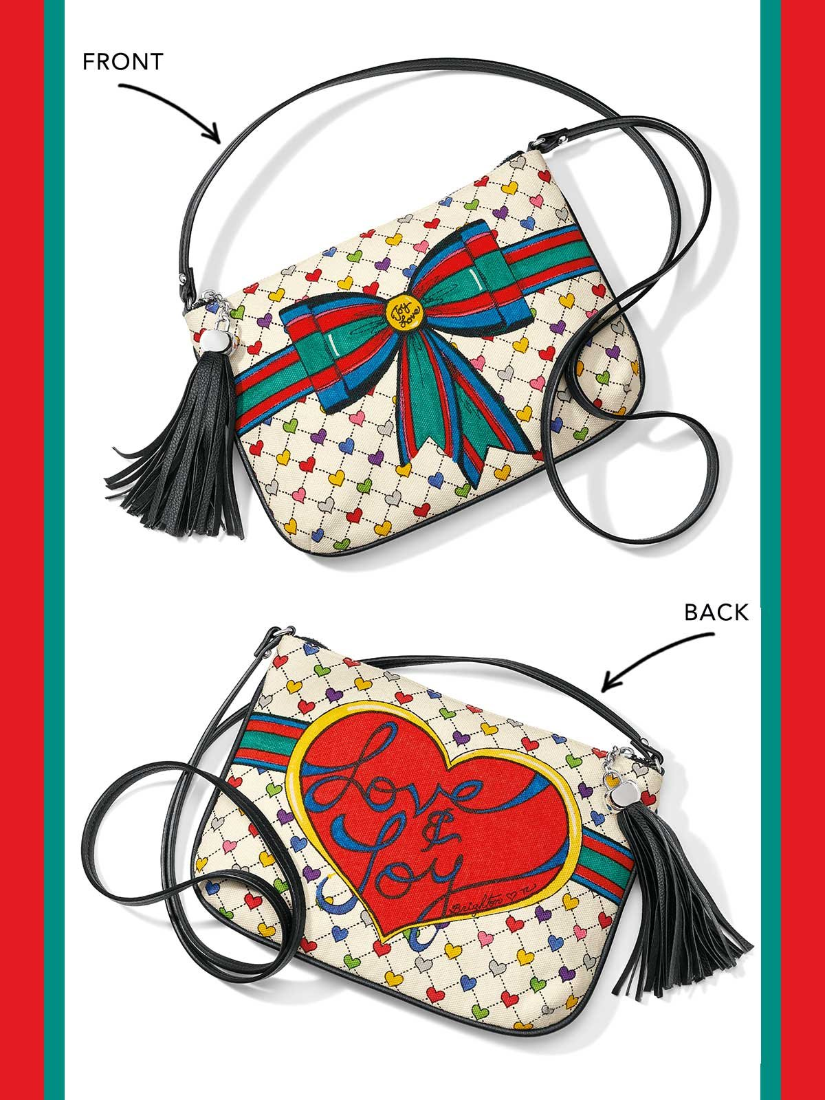 "On the front ""Joy"" and  ""Love"" represented on ribbon. On the back is a heart which has ""Love & Joy"" written on it."
