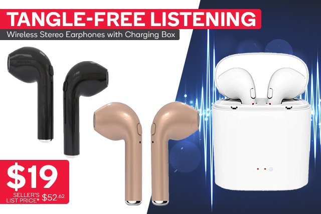 Wireless Headphones Headsets Stereo In-Ear Earpieces Earphones With Charging Box