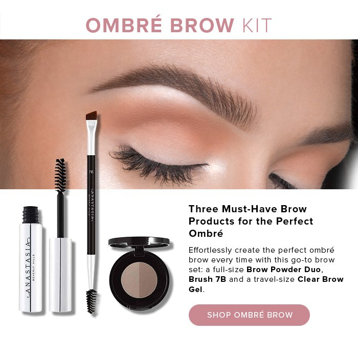 OMBRÉ BROW KIT. Three Must-Have Brow Products for the Perfect Ombré. Effortlessly create the perfect ombré brow every time with this go-to brow set: a full-size Brow Powder Duo, Brush 7B and a travel-size Clear Brow Gel. SHOP OMBRÉ BROW