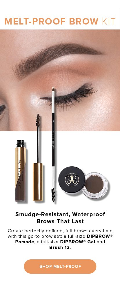 MELT-PROOF BROW KIT. Smudge-Resistant, Waterproof Brows That Last. Create perfectly defined, full brows every time with this go-to brow set: a full-size DIPBROW(R) Pomade, a full-size DIPBROW(R) Gel and Brush 12.SHOP MELT-PROOF