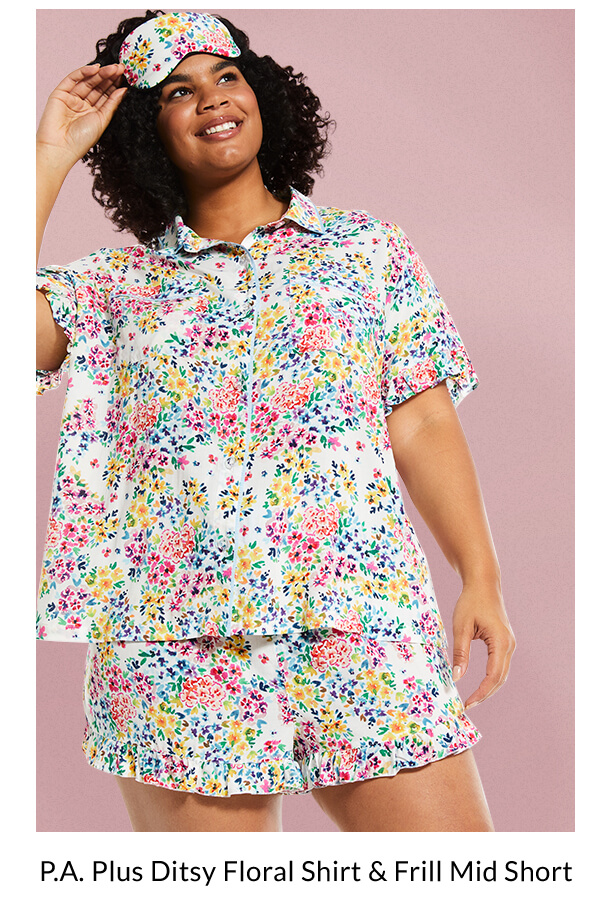 P.A. Plus Ditsy Floral Shirt & Frill Mid Short