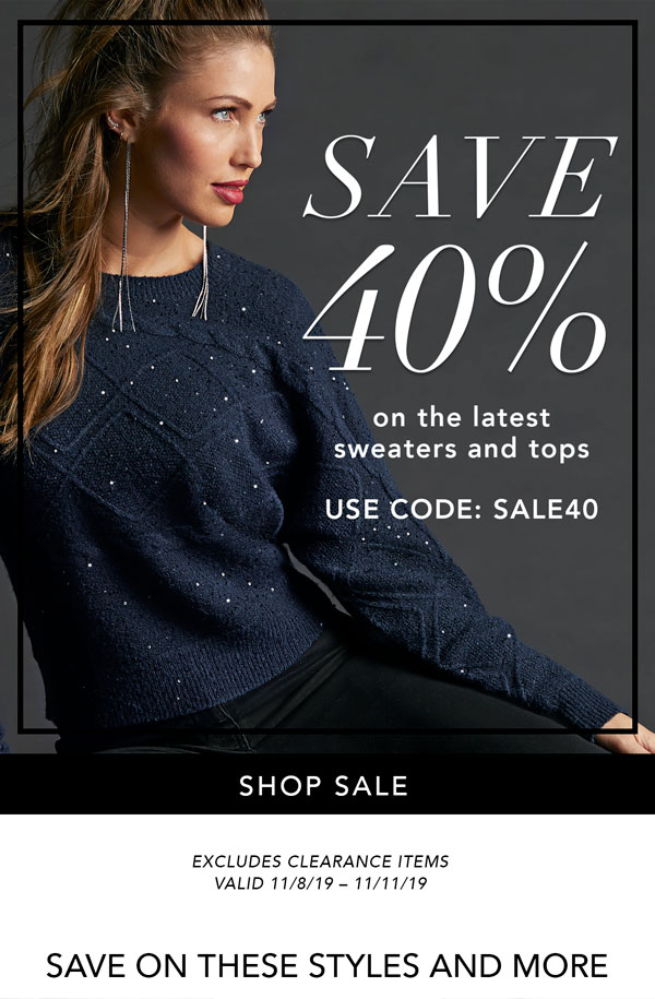 Save 40% On The Latest Sweaters & Tops | Use Code SALE40
