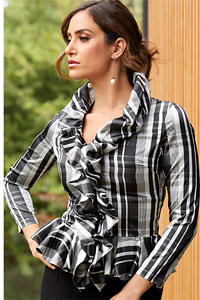 Ruffle Plaid Shirt