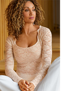 Lace Square-Neck Long Sleeve