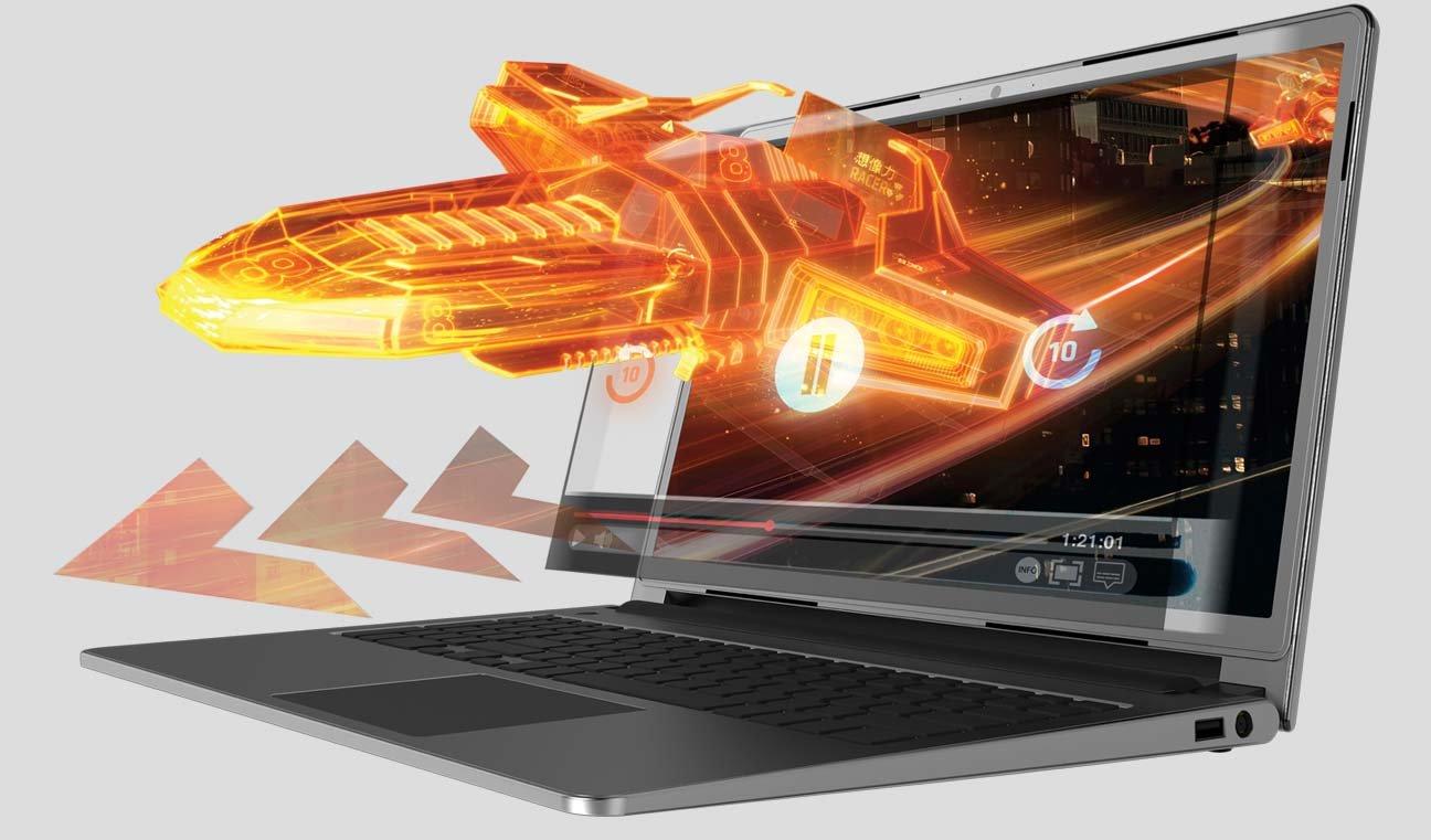 Laptop de carcasa gris mostrando un gráfico 3D naranja brillante saliendo de la pantalla. Pulsa aquí para encontrar laptops con procesador AMD