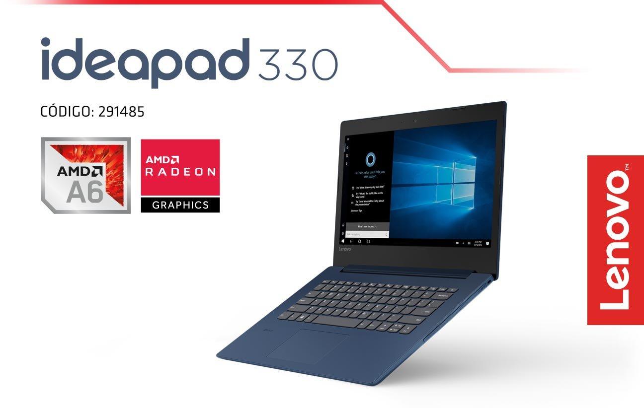 Laptop Lenovo ideapad 330 con carcasa azul marino y procesador AMD. Pulsa aquí para conocer más de la laptop