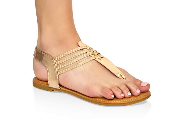 Elastic Caged Thong Sandals
