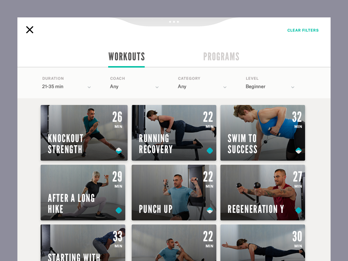 FILTER AND BROWSE WORKOUTS