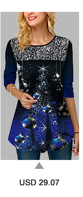Sequin Embellished Christmas Print Long Sleeve T Shirt