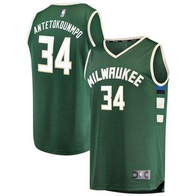 Giannis Antetokounmpo Milwaukee Bucks Fanatics Branded Fast Break Replica Jersey Green - Icon Edition