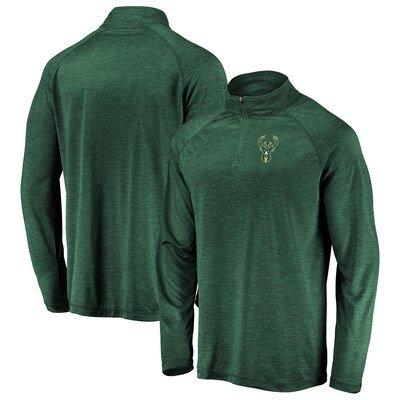 Milwaukee Bucks Fanatics Branded Iconic Striated Raglan Quarter-Zip Pullover Jacket - Hunter Green