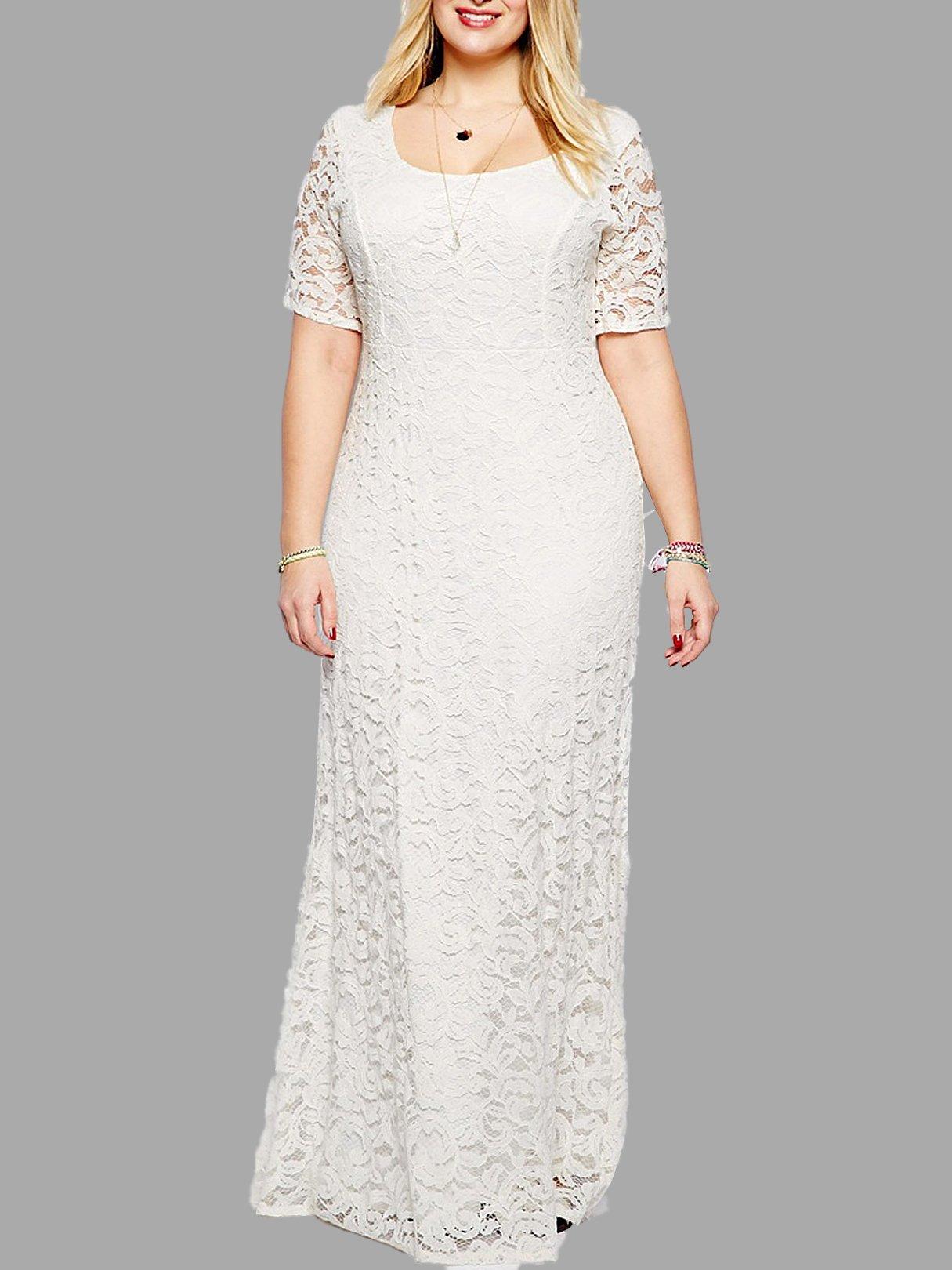 Plus Size White Floral Lace Maxi Dress