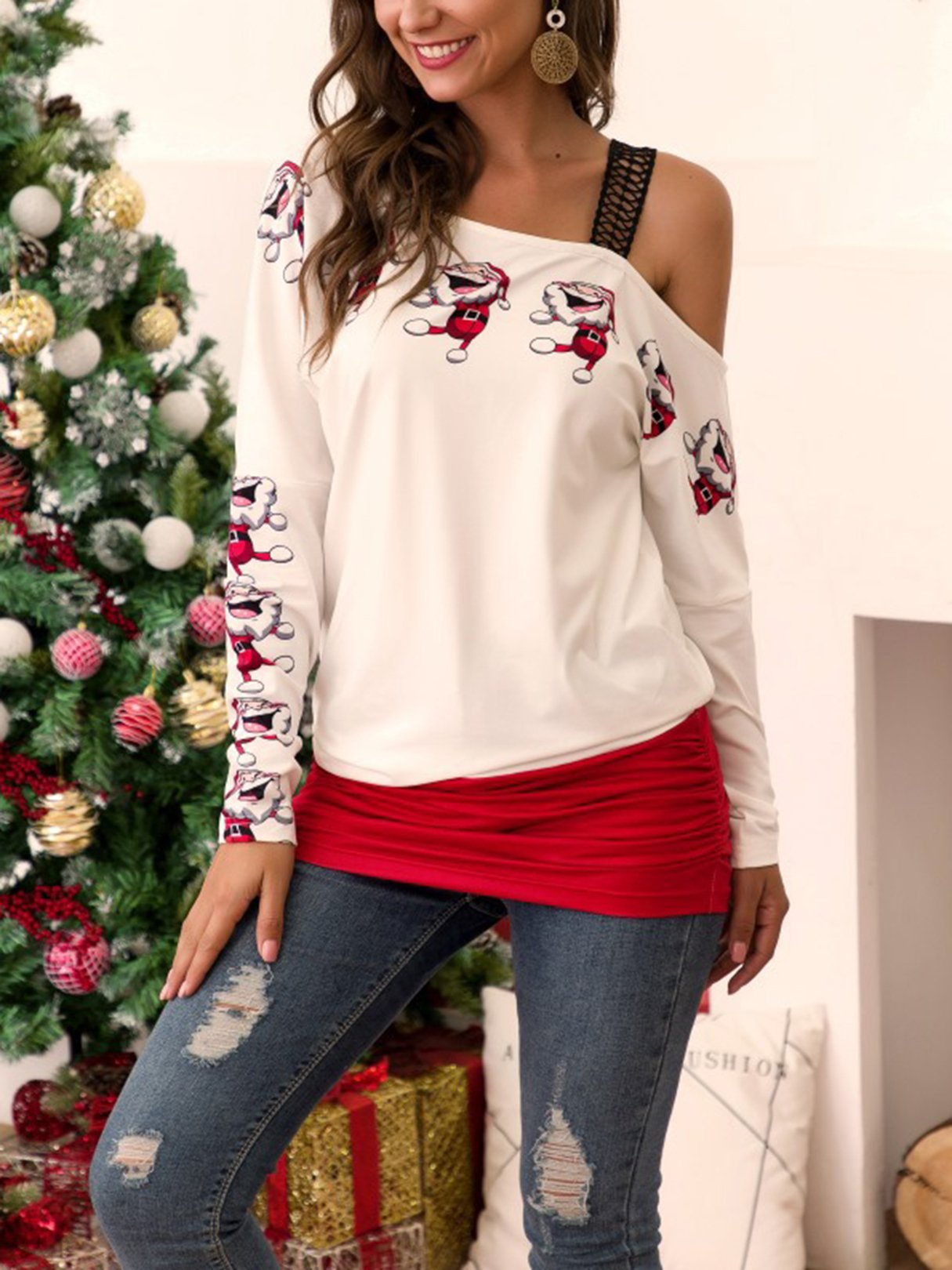 Christmas Graphic One Shoulder Ruched Sweatshirt