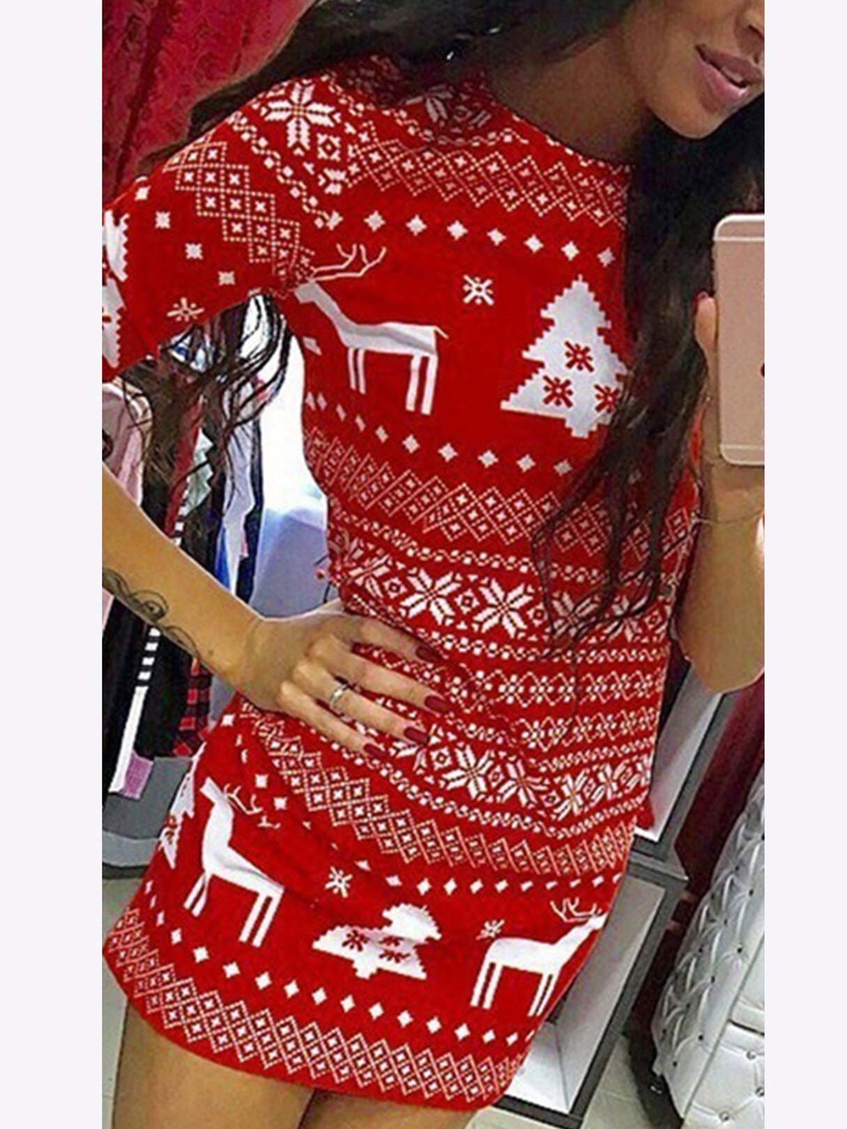 Christmas Graphic Round Neck Long Sleeves Dress
