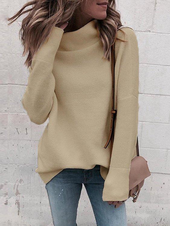 Khaki High Neck Long Sleeves Sweater