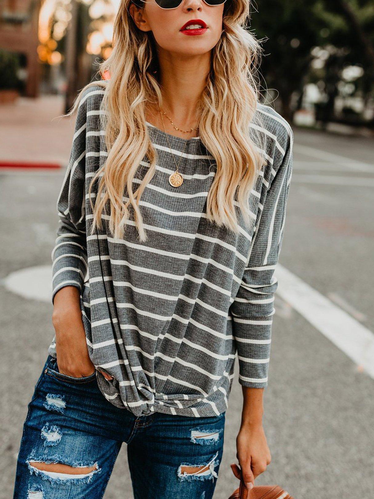 Stripe Twisted Boatneck Knit Top