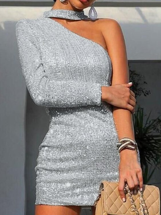Silver One Shoulder Long Sleeves Jersey Dress