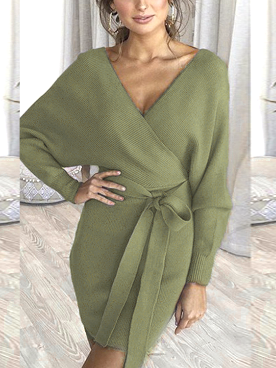 Green Backless Design Deep V Neck Long Sleeves Dress