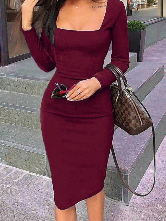 Burgundy Square Neck Long Sleeves Bodycon Midi Dress