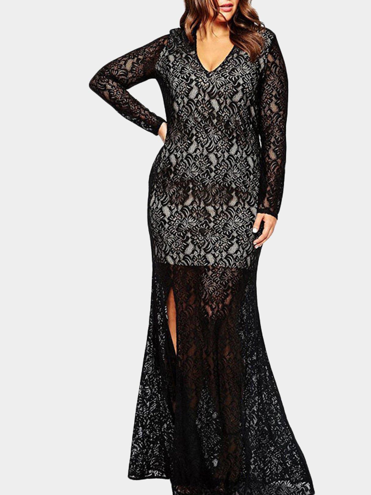 Plus Size Black Plunge V-Neck Split Lace Maxi Dress