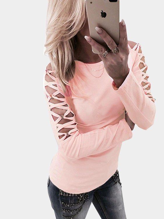 Pink Hollow Design Criss-cross Detials Long Sleeves T-shirt