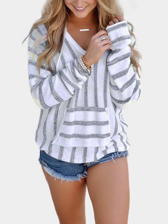 Grey Stripe V-neck Long Sleeves Hoodie