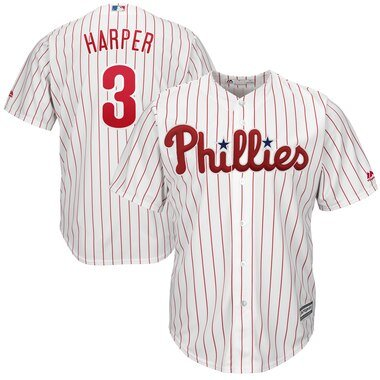 Bryce Harper Philadelphia Phillies Majestic Home Official Cool Base Player Jersey - White/Scarlet
