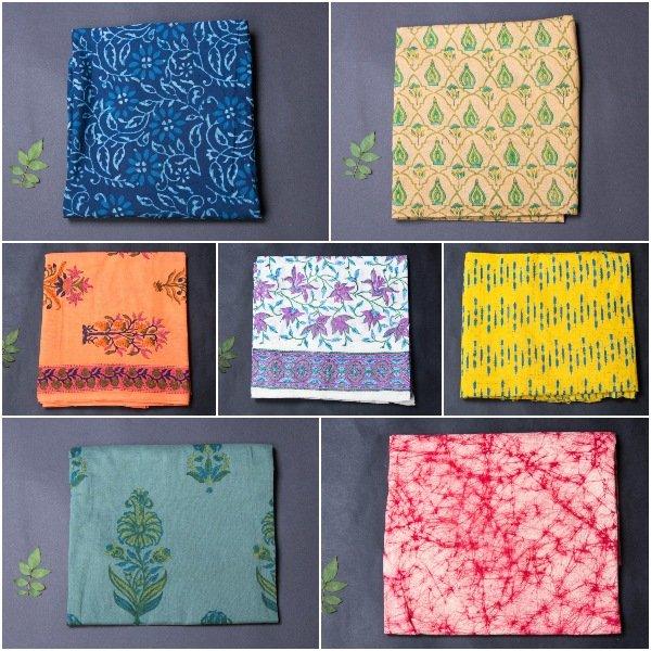 Hand Block & Screen Printed Cotton Precut Fabrics